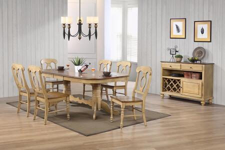 Brook Collection Dlu-br4296-c50-srpw10pc 10-piece Dining Room Set With Double Pedestal Extension Dining Table  8 Side Chairs And