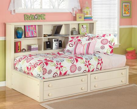 Cottage Retreat Collection B213-05/85/90 Twin Size Bedside Storage Bed with Bookcase Headbaord  2 Footboard Drawers and Side Roller Glides in Cream Cottage