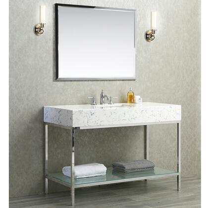 Brightwater 48 inch  Single Sink Vanity Set with Quartz Top  Bottom Shelf and Mirror in Polished Stainless