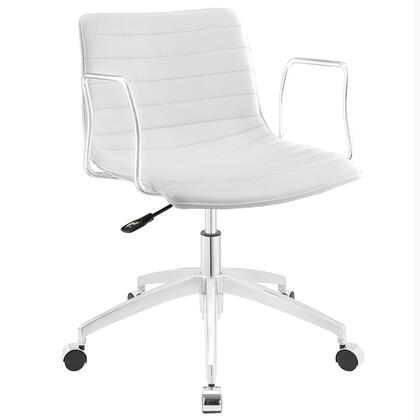 Celerity Collection EEI-1528-WHI Office Chair with 360-Degree Swivel Seat  Five Dual-Wheel Steel Casters  Mid-Century Modern Style  Polished Chrome Aluminum