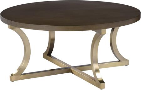 2140301RGC Iris Cocktail Table with Grey Cherry Top and Brushed Champagne Stainless Steel