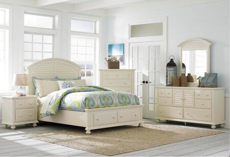 Seabrooke 4471ksbndm 4-piece Bedroom Set With King Storage Bed  Nightstand  Door Dresser And Mirror In Cream