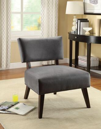 Manrise Collection 59163 19 inch  Accent Chair with Espresso Tapered Legs  Foam Fiber Cushion and Fabric Seat Upholstery in Grey