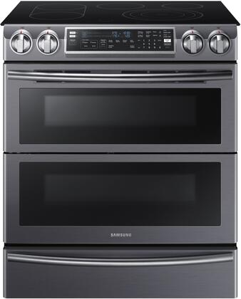 Samsung 5.8 Cu. Ft. Electric Flex Duo Self-Cleaning Slide-In Smart Range with Convection Black Stainless Steel NE58K9850WG