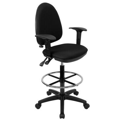 WL-A654MG-BK-AD-GG Mid-Back Black Fabric Multi-Functional Drafting Stool with Arms and Adjustable Lumbar