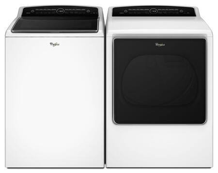 """Cabrio White Top Load Laundry Pair with WTW8500DW 27.5"""" Washer and WED8500DW 29"""" Electric"""