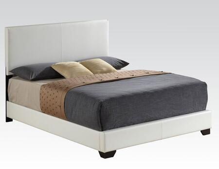 Ireland III Collection 14395F Full Size Bed with Low Profile Footboard  Medium-Density Fiberboard (MDF)  PU Leather Upholstery  Rubberwood and Chipboard