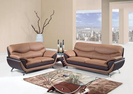 U2106-SLC 3 Piece Two-Toned Bonded Leather Living Room Set in Brown  Sofa + Loveseat +