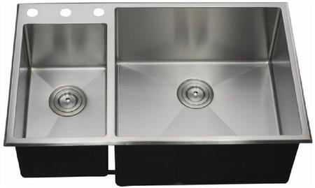 LIX-500-D Biagio 33 1/2 inch  Double Bowl Undermount/Drop-in Kitchen Sink with Soundproofing System and Mounting Hardware in Stainless