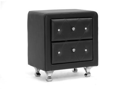 BBT3084-BLACK-NS Baxton Studio Stella Crystal Tufted Upholstered Modern Nightstand  In