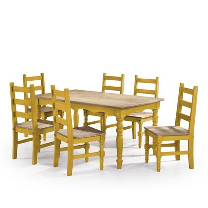 CSJ302 Jay 7-Piece Solid Wood Dining Set with 6 Chairs and 1 Table in Yellow
