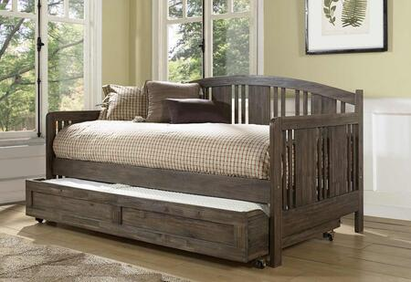 Dana Collection 2000DBT Twin Size Daybed with Trundle Included  Clean Vertical Slatted Design  Gently Arched Back and Sturdy Wood Construction in Brushed
