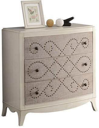 Glejery Collection 90194 37 inch  Console Table with 3 Fabric Covered Drawers  Nail Head Pattern  Metal Knobs  Curved Front and Maple Veneer Materials in Light