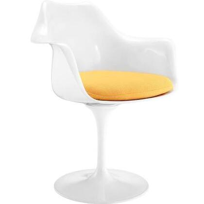 "Daisy Collection EM-152-YEL 27"""" Arm Chair with Aluminum Swivel Base  Tapering Pedestal Rounded Foot  ABS Plastic Seat and Fabric Cushion in Yellow"" 434951"