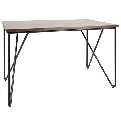 OFD-LOFT BK+WL Loft Mid-Century Modern Office Desk with Black Frame and Walnut Wood