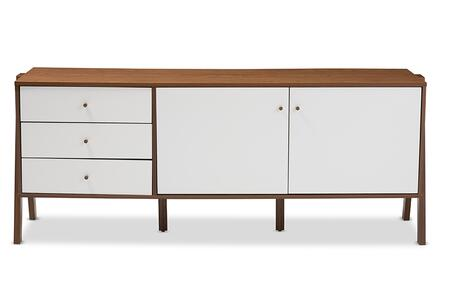 FP-6780-WALNUT/WHITE Baxton Studio Harlow Mid-century Modern Scandinavian Style White and Walnut Wood Sideboard Storage