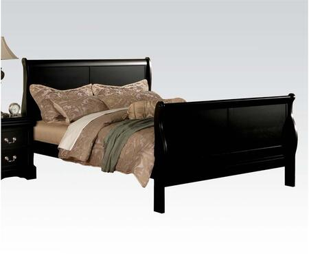 Louis Philippe III Collection 19500Q Queen Size Bed with Sleigh Headboard  Solid Pine Wood and Gum Veneer Construction in Black