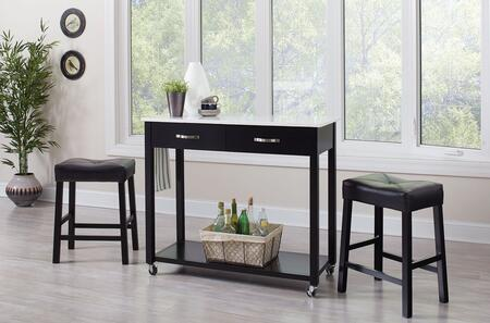 102137 3-Piece Counter Height Table Set with 2 Drawers  Towel Bar  Casters  Bottom Shelf and 2 Faux Leather Upholstered Stools in