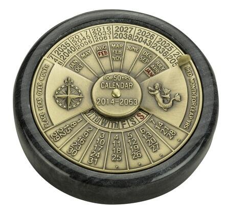 BC006 50-Yr Calendar with Brass Material  in Black & Brass/