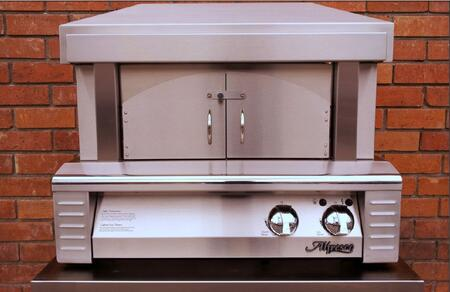 """ALFPZA-NG 30"""" Natural Gas Pizza Oven Plus with 456 Sq. in. Cooking Surface  40 000 BTUs  Ceramic Gas Log Rear Burner  and Removable Arch and Doors in Stainless"""