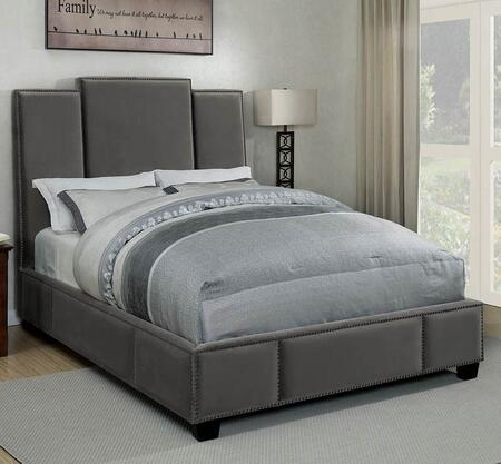 Lawndale Collection 300795KW California King Size Bed with Fabric Upholstery  Three-Panel Headboard  Nailhead Trim and Sturdy Wood Frame Construction in