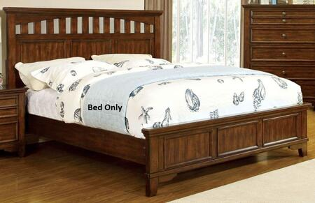 Chelsea Collection CM7781Q-BED Queen Size Bed with Slatted Design Headboard  Solid Wood and Wood Veneers Construction in Cherry