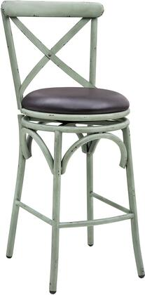 DS-D076 19.5 inch  Metal Swivel Barstool with Upholstered Seat Cushion  Lower Foot Rest and Classic 'X' Back Design in Distressed Antique