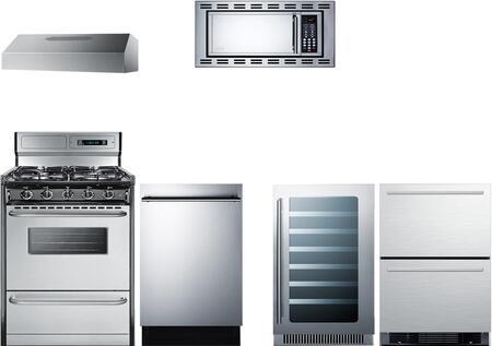 6-Piece Stainless Steel Kitchen Package with SPRF2D5 24 inch  Counter Depth Refrigerator  TTM13027BKSW 20 inch  Gas Range  ULT2820SS 20 inch  Under Cabinet Hood  OTR24 24 inch