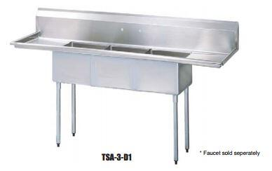 TSA-3-D1 Drain Board 90 inch W Three Compartment Sink with Swirl Away Bowl Drainage  Two Drain Boards and Adjustable ABS Bullet Feet in Stainless