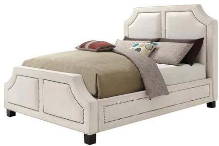 Washbourne Collection 300547Q Queen Size Panel Bed with Brass Nailhead Trim  Tapered Legs and Fabric Upholstery in White