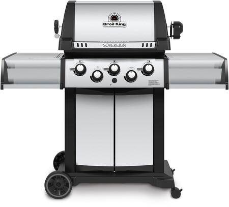 987847 SOVEREIGN 90 Natural Gas Grill with 3 Burners  44000 BTU Main Burner Output  450 sq. in. Cooking Area  Four stainless steel Dual-Tube  burners  Side