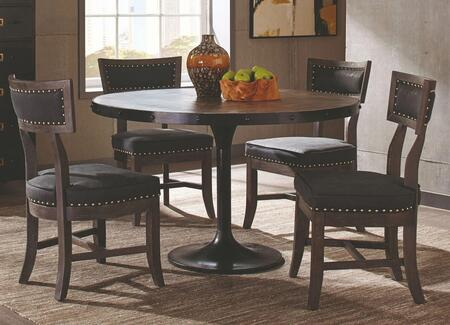 Mayberry Collection 190321-S5-262 5-Piece Dining Room Set with Round Dining Table and 4 Side Chairs in Brown and