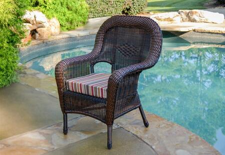LEX-DC1 Sea Pines Dining Chair With All Weather Wicker  100% Spun Polyester Cushion  Mildew and Fade Resistant Fabric & In