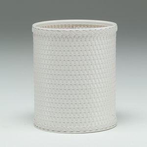 R426WH Chelsea Collection Decorator Color Round Wicker Wastebasket in