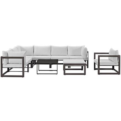 Fortuna Collection EEI-1734-BRN-WHI-SET 9-Piece Outdoor Patio Sectional Sofa Set with Ottoman  Side Table  Single Sofa  3 Center Sections and 3 Corner Sections