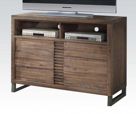 Andria Collection 21297 48 inch  TV Console with 3 Drawers  2 Media Open Compartments  Nickel Metal Legs and Acacia Wood Construction in Reclaimed Oak