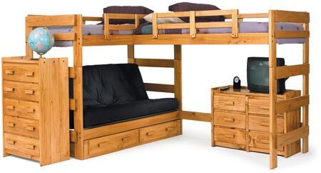 3662001 L Shaped Futon Loft Honey (Futon mattress not