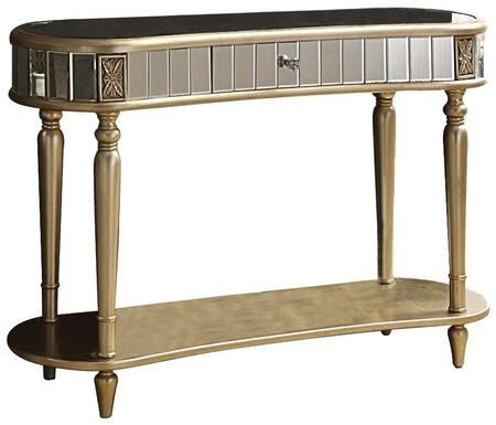 Kaya 97239 47 inch  Console Table with 1 Drawer  Oval Top  Mirror Inserts  Bottom Shelf and Turned Legs in Champagne