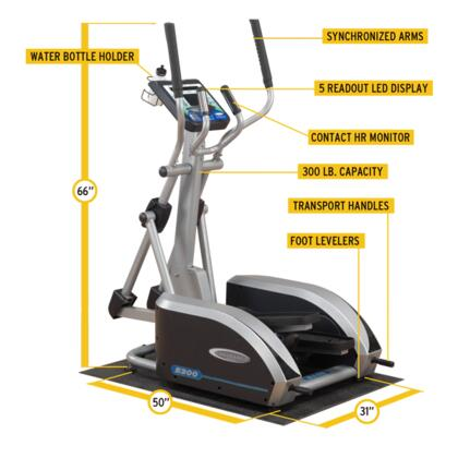 E300 Endurance Elliptical Trainer with 5-Readout LED Display and Contact Heart Rate