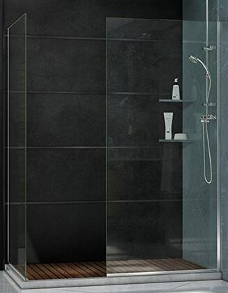 SHDR-3234302-04 Linea Frameless Shower Door. Two Glass Panels: 30 in. x 72 in. and 34 in. x 72 in. Brushed Nickel