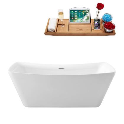 N54062FSWHFM 62 inch  Soaking Freestanding Tub with Internal Drain  Chrome Color Drain Assembly  187 Gallons Water Capacity  and Acrylic/Fiberglass Construction  in