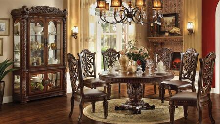 620204CHCB Vendome Round Dining Room Table + 4 Side Chaira + China Cabinet with Carved Edges  Single Pedestal  Wood Veneers and Solids in Cherry