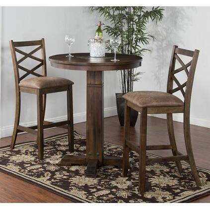 Savannah Collection 1350ACBT2BS 3-Piece Bar Table Set with Pub Table and 2 Stools in Antique Charcoal