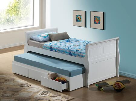 Nebo Collection 30095T Twin Size Bed with Trundle  Storage Drawers and Wood Frame in White