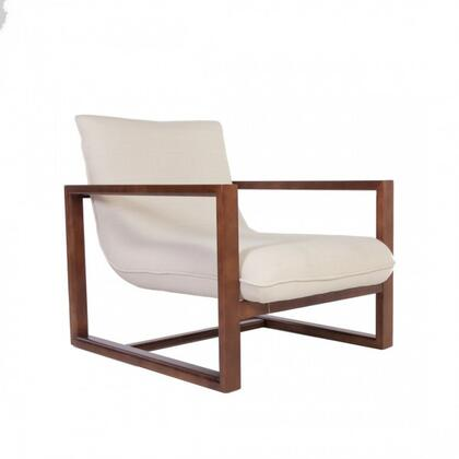 Callan FXC106BEIGE Lounge Chair with Ash Wood Frame  Piped Stitching and Fabric Upholstery in