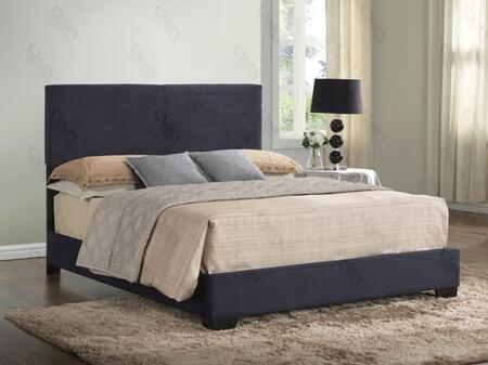 G1801-kb-up King Size Bed With Low Profile And Microfiber Upholstery In Black