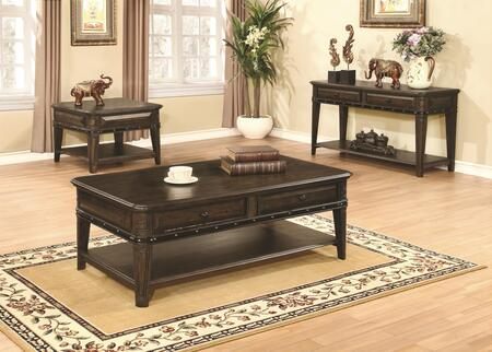 Occasional Table 704258CES 3 PC Living Room Table Set with Coffee Table + Sofa Table + End Table in Dull Black