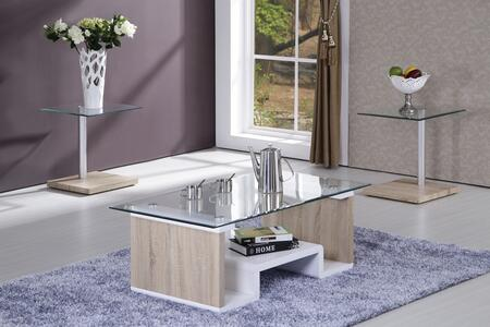 Linwood 81532CET 3 PC Living Room Table Set with Coffee Table + 2 End Tables in Light Grain and White