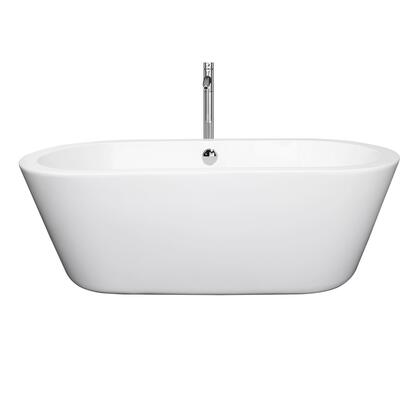 WCOBT100367ATP11BN 67 in. Center Drain Soaking Tub in White with Floor Mounted Faucet in Brushed