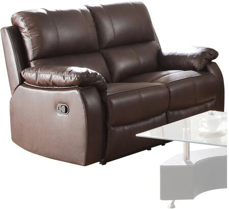 Enoch Collection 52451 61 inch  Loveseat with Pillow Top Armrest  Pocket Coil Seating  Tight Seat Cushion and Top Grain Leather Match Upholstery in Dark Brown
